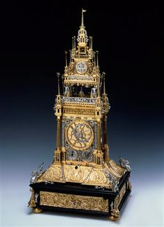 Türmchenuhr by  Schuster, Paulus (16.th c ) Nürenberg, made1587 Material and Technique Brass, coined, gilded silver, bronze, copper, steel, ebony enamel