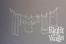 Laundry Room Clothesline Wall Decals, Vinyl Art Stickers