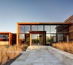 Glass and wood style house