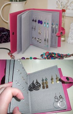 Earring book: felt, cardboard, hot glue and hole punch