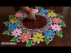 Navaratri Special Muggu only (3) dot's // Dussehra Muggulu // - YouTube Easy Rangoli Designs Videos, Rangoli Designs Simple Diwali, Rangoli Side Designs, Rangoli Designs Latest, Free Hand Rangoli Design, Small Rangoli Design, Rangoli Designs With Dots, Beautiful Rangoli Designs, Rangoli Colours