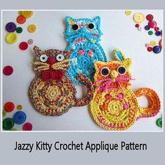 Jazzy Cat Beaded Applique  Crochet Pattern  by HandandHookCrochet