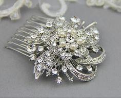 Pearl and Rhinestone Bridal Hair Comb Wedding by LavenderByJurgita, $65.00