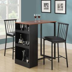 Isla 3-Piece Counter Height Dining Set with Storage, Espresso: couldn't I make this with a shelf and an Ikea tabletop?