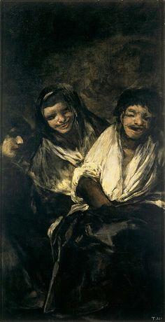 """Francisco Goya, opera anonima detta """"Due donne e un uomo"""", dalle """"Pinturas negras"""", 1819-23, olio su gesso trasferito su tela. Madrid, Museo del Prado"""
