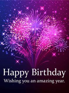 Pink & Purple Fireworks Birthday Card