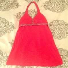 Coral colored Lululemon top size 6 Gently used size 6 halter Lululemon top! No padding in chest. Exposed back detail. Very cute!!! lululemon athletica Tops