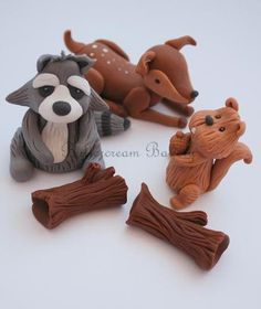 Set of Woodland Animal Cake Decorations/Toppers via Etsy