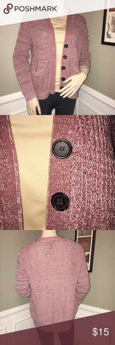 Forever 21 Boyfriend Cardigan - Sz. Medium This sweater is super comfy and would be excellent to keep at work for those times when you get chilly or to throw on at home to run to the mailbox. It's extremely versatile and a muted mauve color. The buttons are neat and simulate a tortoise shell-like look. Forever 21 Sweaters Cardigans