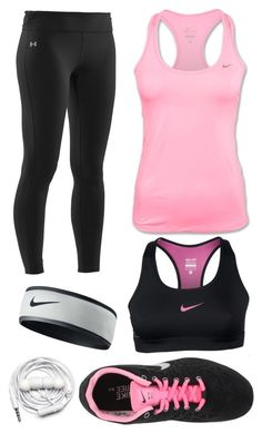 """Running in Pink"" by alexkay98 ❤ liked on Polyvore featuring Under Armour, NIKE, Urbanears and pink black leggings racerback underarmor nike headphones tennisshoes sportsbras"