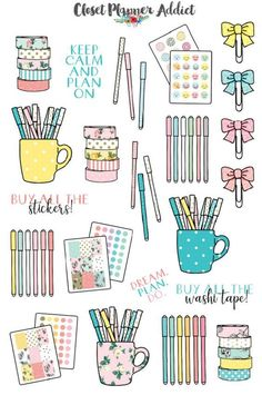 A collection of planner stationery, washi tape and planner clips planner stickers for your planner. Perfect for stationery and planner addicts! These stickers are designed to fit any planners, journals and notebooks and come ready to be used. Planner Stickers, Journal Stickers, Printable Planner, Free Printable Stickers, Free Printables, Stickers Kawaii, Buy Stickers, Bullet Stickers, Closet Planner