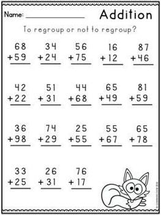 English Worksheets For Kindergarten, First Grade Math Worksheets, 1st Grade Math, Addition With Regrouping Worksheets, Math Notebooks, Interactive Notebooks, Math For Kids, History Education, Teaching History