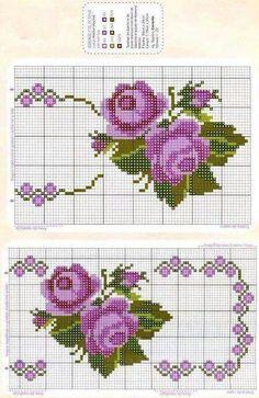 Pembe güller Cross Stitch Borders, Cross Stitch Rose, Simple Cross Stitch, Cross Stitch Flowers, Cross Stitch Charts, Cross Stitch Designs, Cross Stitching, Cross Stitch Embroidery, Embroidery Patterns