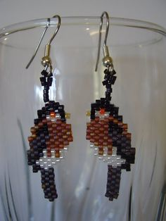Native American Beaded Chickadee Bird Earrings