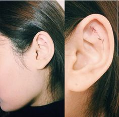 Minimal flower tattoo in ear. Pretty, but would hurt like crazy, so considering a different placement