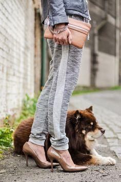 sweatpants & heels