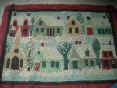 Vintage Hooked Rug Winter Scene   eBay