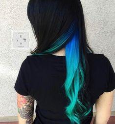 You do things… Hidden Hair Color, Cool Hair Color, Undercolor Hair, Peekaboo Hair Colors, Mermaid Hair, Hair Highlights, Peekaboo Highlights, Ombre Hair, Blue Hair