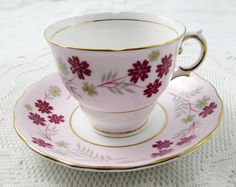 Colclough Pink Tea Cup and Saucer with Red Flowers, Vintage Bone China
