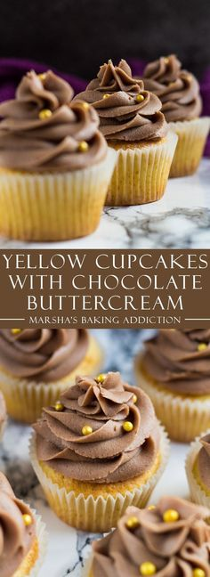 Yellow Cupcakes with Chocolate Buttercream Frosting | http://marshasbakingaddiction.com /marshasbakeblog/