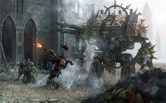 Iron Warriors with a Chaos Dreadnaught.