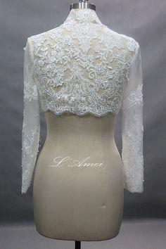 Long Sleeve French Lace Bridal Bolero Shrug Wedding by LAmei