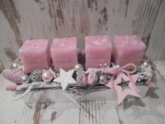 4 solid colored square safety candles in the Trendfar antique pink are . Rose Gold Christmas Decorations, Christmas Advent Wreath, Christmas Arrangements, Christmas Candles, Xmas Decorations, Classy Christmas, Christmas Time, Deco Table Noel, Christmas Crafts