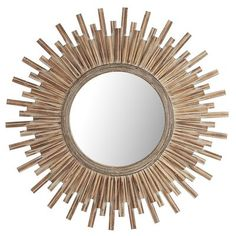 The decorative frame of this honey-stained wood mirror radiates warmth and good taste. Hang it in a room that needs a little sunshine, and bask in its beauty.