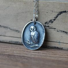 Owl wax seal fine silver pendant sterling silver necklace by ALMrozarka on Etsy Silver Charms, Sterling Silver Necklaces, Silver Jewelry, Antique Wax, Wax Seals, Gemstone Beads, Natural Gemstones, Handmade Jewelry, Pure Products