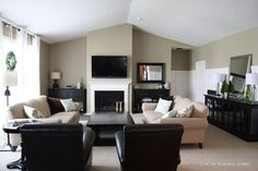 BEfore and afters...Behr Ultra Nile Sand paint in living room