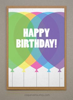 Fun Birthday card. A6. Colorful Balloons - http://www.funhunter.com/fun-birthday-card-a6-colorful-balloons.html