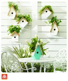 Transform a birdhouse into a vertical herb garden, a fresh floral centrepiece, and a welcoming front door. Outdoor Projects, Diy Projects, Outdoor Decor, Floral Centerpieces, Birdhouse, Herb Garden, Fresh, Crafts, Home Decor