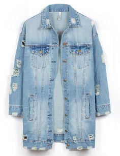 LE3NO Womens Vintage Oversized Distressed Ripped Denim Boyfriend Jacket