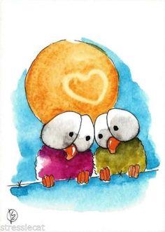 ACEO-Original-watercolor-whimsical-birds-animal-painting-art-full-moon-love