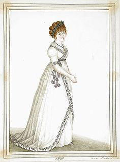 1798 fashion plate  I'm encouraged to see this, because my 1790s wrap-front gown also opens at the front when I walk.