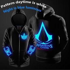 Casual Family Bonding Theme of Assassin's Creed Luminous Hooded Zipper Jacket