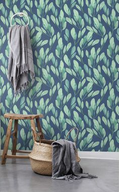 Watercolor leaves wallpaper, Botanical removable wallpaper, Blue background sticker, Leaves wall decal, BW053