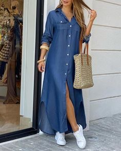 ZANZEA Women Long Maxi Dress Casual Solid Buttons Down Long Shirts Vestidos Cotton Linen Sundress Lapel Neck Party Beach Dresses Maxi Shirt Dress, Maxi Dress With Slit, Beach Dresses, Casual Dresses, Vacation Dresses, Real Online, Paris Chic, Paris Style, Trend Fashion