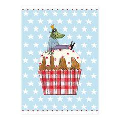 Postkarte mit Glitzer-Frosch auf Muffin #Grätz #SilkeLeffler Vintage Art, Advent Calendar, Marquis, Holiday Decor, Chen, Muffin, Illustration, Home Decor, Postcards
