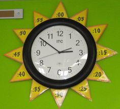 Sun Clock - home school room learning to tell time with classroom wall sun clock. DIY Sun Clock - home school room learning to tell time with classroom wall sun clock. Classroom Walls, School Classroom, Classroom Decor, Classroom Clock, Spanish Classroom, Classroom Design, Teaching Time, Teaching Tools, Teaching Math