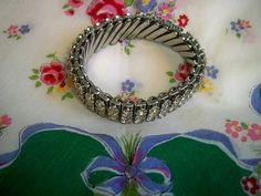Vintage 1950s Rhinestone Hollywood Glam Bracelet by BlackRain4