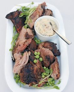 Spiced Slow-Roasted Pork Shoulder with Salt-Baked Shallot and Tarragon Creme Fraiche Recipe