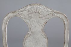 A set of ten Swedish Rococo style painted oak dining chairs distressed pale grey paintwork, upholstered in calico, available in a range of fabrics and finishes Painted Dining Chairs, Oak Dining Chairs, Rococo Style, Bespoke, Fabrics, Range, Mirror, Grey, Painting