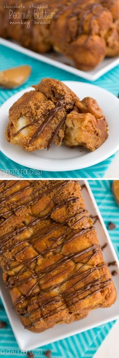 {Chocolate Stuffed} Peanut Butter Monkey Bread Loaf | crazyforcrust.com | This easy monkey bread is filled with chocolate and baked with a p...