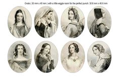 30x40mm Oval Medieval William Shakespeare Lady by kalandor on Etsy
