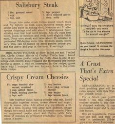 Vintage recipe Salsbury steak n crispy cream cheesies