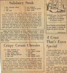 Vintage recipe Salsbury steak n crispy cream cheesies