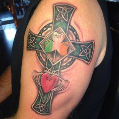 First tattoo for this older gent for his Celtic Tattoos For Men, Celtic Cross Tattoos, Cross Tattoo For Men, Irish Tattoos, Cross Tattoo Designs, Tattoo Designs Men, Celtic Crosses, Family Tattoos, Mom Tattoos