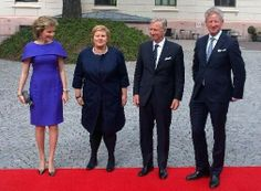King Philippe and Queen Mathilde of Belgium  visit with Norwegian Prime Minister Erna Solberg on their Introductory visit to Norway 4/30/2014