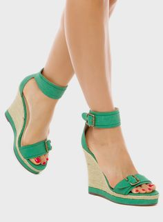 Shoedazzle, Wedge Sandals in Green
